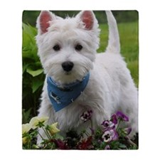 Westie puppy in garden Throw Blanket