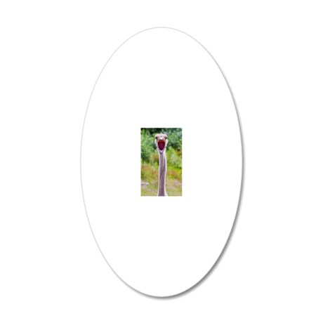Big mouth Ostrich 20x12 Oval Wall Decal