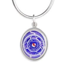 Carbon Atom and energy emissi Silver Oval Necklace