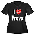 I Love Provo (Front) Women's Plus Size V-Neck Dark