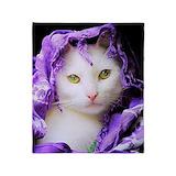 Purple cat Fleece Blankets