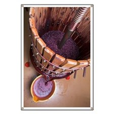 a grape press with red grape juice pouring  Banner