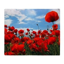 Red poppy flowers field Throw Blanket