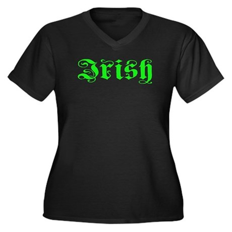 Irish Women's Plus Size V-Neck Dark T-Shirt
