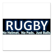 "Unique I love rugby Square Car Magnet 3"" x 3"""