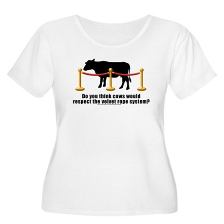 Cows Velvet Rope Women's Plus Size Scoop Neck T-Sh
