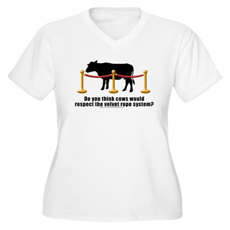 Cows Velvet Rope Women's Plus Size V-Neck T-Shirt