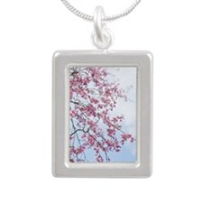 Cherry Blossom Silver Portrait Necklace