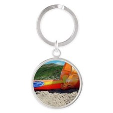 Buckets and spades on beach Round Keychain