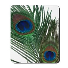 Lovely White Peacock Feather Mousepad