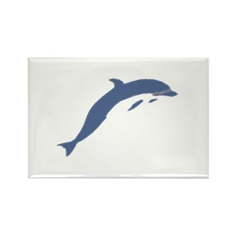 Blue Dolphin Rectangle Magnet