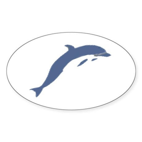 Blue Dolphin Oval Sticker