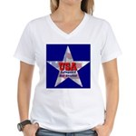 USA Safeguard Our Shores Women's V-Neck T-Shirt