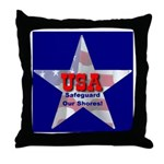 USA Safeguard Our Shores Throw Pillow