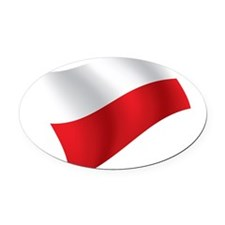 Polish Flag Oval Car Magnet