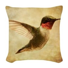 Ruby throated hummingbird up c Woven Throw Pillow