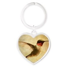 Ruby throated hummingbird up close Heart Keychain