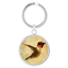 Ruby throated hummingbird up close Round Keychain