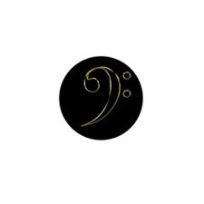 Gold Bass Clef Mini Button (10 pack)