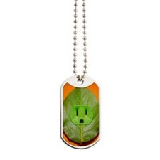 Green plant leaf with an electrical outle Dog Tags