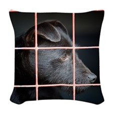 Patterdale terrier Woven Throw Pillow