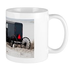 Amish horse and buggy in the snow. Mug