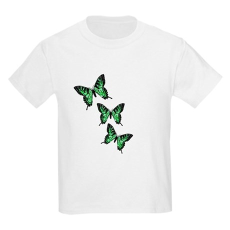 Three Green Butterflies Kids Light T-Shirt