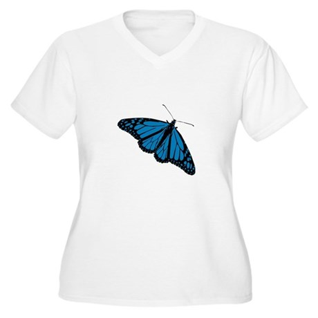 Blue Butterfly Women's Plus Size V-Neck T-Shirt
