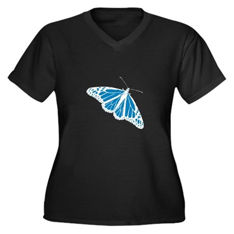 Blue Butterfly Women's Plus Size V-Neck Dark T-Shi