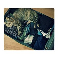 Cat in suitcase Throw Blanket