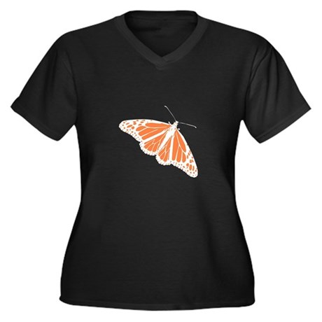Butterfly Women's Plus Size V-Neck Dark T-Shirt