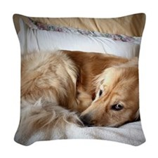 Golden Retriever puppy Woven Throw Pillow
