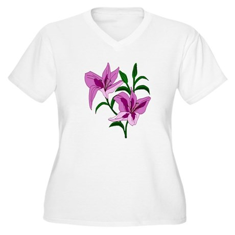 Pink Lilies Women's Plus Size V-Neck T-Shirt
