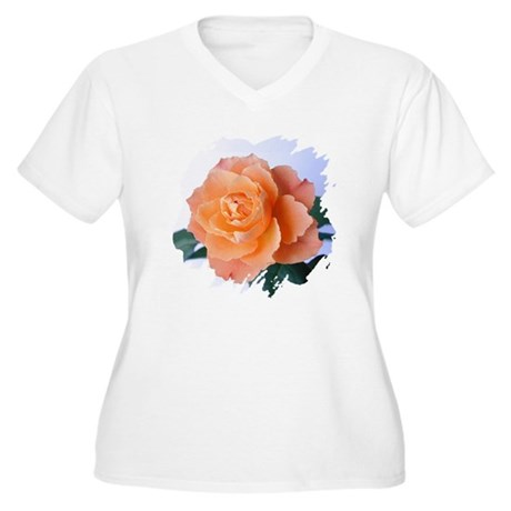 Orange Rose Women's Plus Size V-Neck T-Shirt