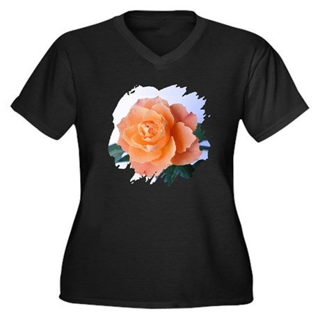 Orange Rose Women's Plus Size V-Neck Dark T-Shirt