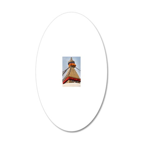 Golden eyed stupa 20x12 Oval Wall Decal