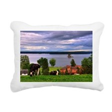 View of farm with cows g Rectangular Canvas Pillow
