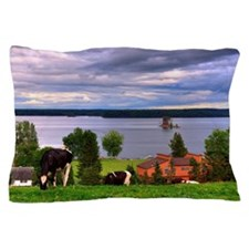 View of farm with cows grazing Pillow Case