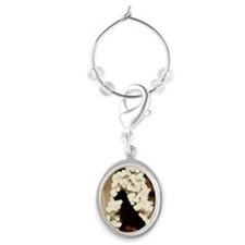 Christmas with dog indoors Oval Wine Charm