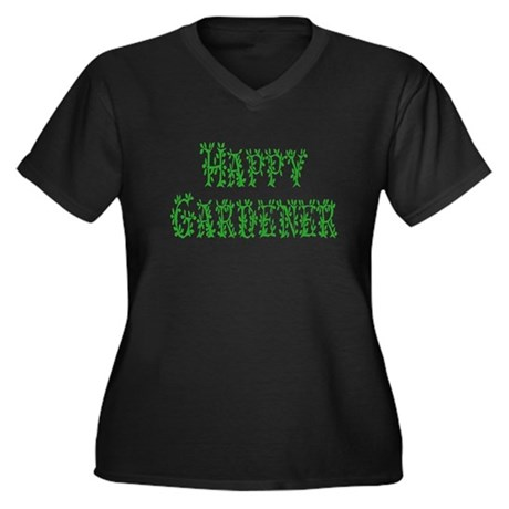 Happy Gardener Women's Plus Size V-Neck Dark T-Shi