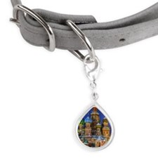 St Basil's cathedral at nig Small Teardrop Pet Tag
