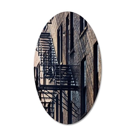 Fire Escape Stairs Against B 35x21 Oval Wall Decal
