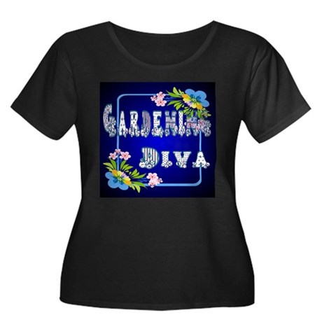 Gardening Diva Women's Plus Size Scoop Neck Dark T