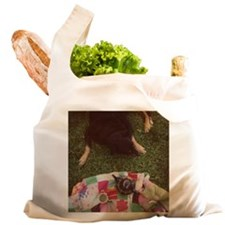 Dog on lawn with quilt and t Reusable Shopping Bag