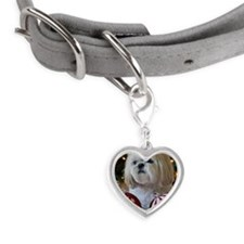 Dog sitting with Christmas dec Small Heart Pet Tag