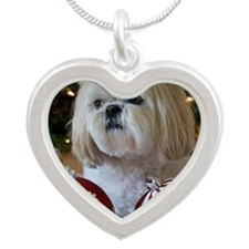 Dog sitting with Christmas d Silver Heart Necklace