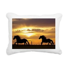 Sunset with horses Rectangular Canvas Pillow