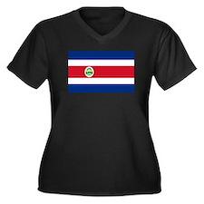 Costa Rica Flag Women's Plus Size V-Neck Dark T-Sh