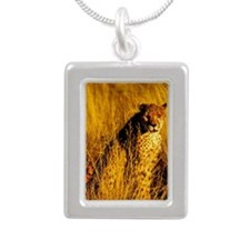 Cheetah Silver Portrait Necklace