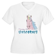 Hooray for Unicorns Women's Plus Size V-Neck Tee